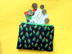 Your place to buy and sell all things handmade Parrot Feather, You Loose, Feather Design, Passport Cover, Coin Purses, Wash Bags, Pet Gifts, Uk Shop, Love Birds