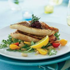 Red Snapper Fillets on Garlic Toasts with Arugula White-bean Salad | MyRecipes.com