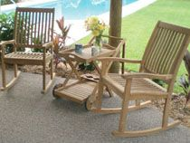 Outdoor Royal Teak 3 Piece Patio Chat Set with Highback Rockers and Tray Cart Spa Amish Rocking Chairs, Outdoor Rocking Chairs, Teak Furniture, Outdoor Furniture Sets, Wood Patio Chairs, Floating Deck, Teak Table, Old World Charm