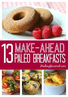 13 Delicious Paleo Breakfast Ideas Love a hot breakfast, but not all the prep and cleanup in the morning? Here are 13 quick and delicious, make-ahead Paleo Breakfast ideas you'll love! Paleo Breakfast, Breakfast Recipes, Breakfast Casserole, Breakfast Ideas, Breakfast Buffet, Breakfast Pancakes, Breakfast Burritos, Breakfast Bake, Breakfast Bowls