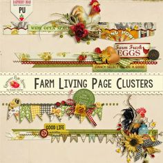 A beautiful set of farm themed clusters from Raspberry Road Designs.