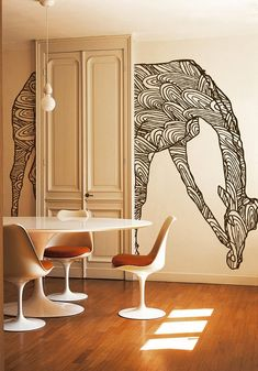 Wild giraffe via Wall & Deco. Girafa a la paret Deco Design, Wall Design, House Design, Design Design, Design Ideas, Wall Murals, Wall Art, Wall Treatments, Interior And Exterior
