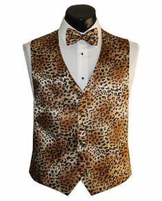 Each groomsman would get a vest and bow tie to match the corresponding bridesmaid belt. Animal Print Wedding, Safari Wedding, Cheetah Animal, Cheetah Print, Bridesmaid Belt, Vest And Bow Tie, Rockabilly Wedding, Tuxedo Vest, Groomsmen