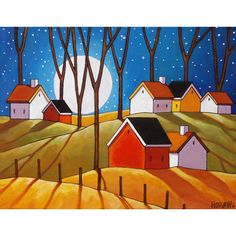 Autumn Night Full Moon Cottages Art Print, Folk Art Night Countryside Trees Landscape Reproduction Artwork by Cathy Horvath Buchanan - Art print, tree sticks & full moon over small country cottages, featuring vibrant colors in a moder - Artwork Prints, Fine Art Prints, Modern Artwork, Original Artwork, Original Paintings, Abstract Paintings, Art Paintings, Frida Art, Art Populaire