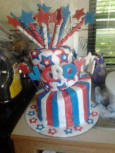 Fourth of July Topsy Turvy cake! Fourth Of July Cakes, Holiday Cakes, Cake Decorating, Baking, Recipes, Bakken, Ripped Recipes, Backen