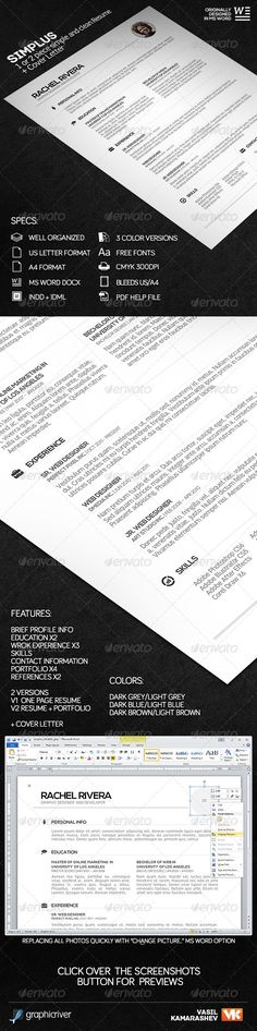 Simple Resume Vol 2 Pinterest Simple resume, Template and Resume cv