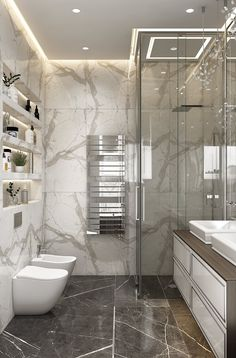 56 simple and beautiful bathroom decorating ideas 2020 55 Bathroom Design Luxury, Modern Bathroom Design, Home Interior Design, Interior Ideas, Bathroom Design Inspiration, Bad Inspiration, White Marble Bathrooms, Small Bathroom, Bad Styling