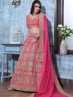 Party Wear Pink Net Embroidered Work Lehenga Choli