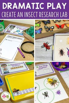 Find ideas to create an entomology lab dramatic play area set up.  Your kids will love playing and learning in an insect research lab dramatic play center.  Perfect for your insects and bugs theme, spring theme, summer theme, or garden theme in your preschool or pre-k classroom.  Many ideas for fun, hands-on learning activities and printables are included...perfect for early childhood play-based learning.  Math, science, literacy, STEM, and STEAM in one play cente