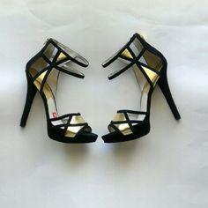 Jaida platform shoes suede gold black Leather upper,  heel height 5.5 inches, platform 1 inches, rubber sole, back zip Michael Kors Shoes Heels