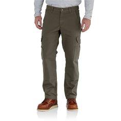Carhartt Men's Ripstop Cargo work Flannel Lined Pant - 38x30 - Moss