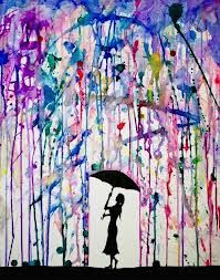 umbrella silhouette watercolour