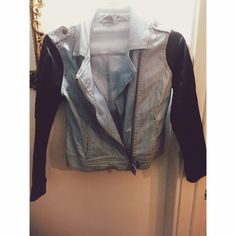 Jean jacket with leather sleeves Worn in condition. Really great spring/summer jacket Forever 21 Jackets & Coats