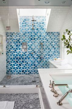 Blue patterned shower tile via House of Turquoise & Massucco Warner Miller Interior Design Related posts:Tonya Smith's Portland Home Is Full Of Vintage VibesRelated ImageGet Ready To Be Inspired By These Industrial Bathroom Inspiration, Home Interior Design, House Design, New Homes, House Interior, Bathrooms Remodel, Home, Interior, Bathroom Design