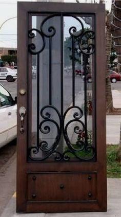 Iron Gate Design, House Gate Design, Front Door Design, Classic House Design, Unique House Design, Iron Front Door, Iron Doors, Exterior Doors, Entry Doors