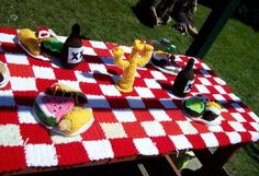picnic table yarnbomb for International Yarnbombing Day!