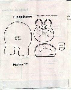 Lindo Hipopotamo en fieltro, fácil de hacer. | Rosibell-MOLDES