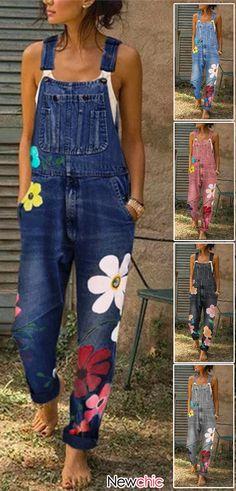 Fashion Womens Sleeveless Denim Floral Print Jeans Jumpsuit Trousers One Piece Jumpsuit Denim, Denim Romper, Printed Jumpsuit, Cute Overalls, Denim Overalls, Denim Fashion, Womens Fashion, Mode Jeans, Rompers