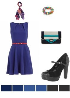 Blue Belted Dress with Black sandals & Blue color block clutch.