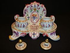 Exquisite Double Inkwell ~ French Porcelain ~ French Decorated with Fluer De Lis ~ EDME SAMSON & Cie - SAMSON CERAMICS [PARIS PORCELAIN] (Pa...