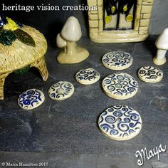 Fairy Garden Stepping Stones Set #84 | Round Stoneware with Spiral Pattern, Set of 7, 2 Sizes, White with Blue  | Fairie Garden Accessory by HeritageVision on Etsy