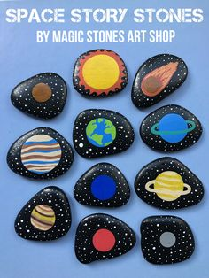 Space Toys Story Stones Solar System educational Montessori handmade toy Planets activity Outer Space playset for kids Preschooler early learning. Custom order - made by Magic Stones Art Shop. Story Stones, Stone Crafts, Rock Crafts, Planets Activities, Planets Preschool, Space Activities For Kids, Preschool Activities, Educational Toys For Preschoolers, Solar System Crafts