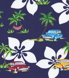 Tropical Fabric- Vintage Cars