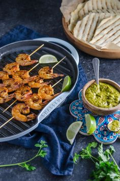 Grilled Spiced Prawns on Homemade Lime Flatbread with Chimichurri Sauce   Chew Town Food Blog