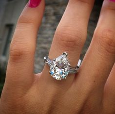 2.5 Ct Pear Diamond With Baguette Engagmeent Wedding Ring in 14kWhite Gold Over  #RegaaliaJewels #SolitairewithBaguette