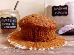 Muffins de calabaza y espelta {y especias para pastel de calabaza} - Los Antojitos de María
