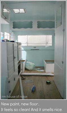 trailer restor, vintage trailers, glamp, color blue, floor plans