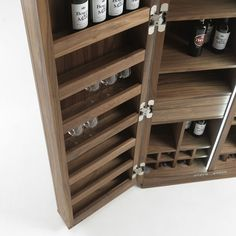 The Cambusa offers an array of functional storage solutions, with twin strips of LED sensors transforming a sophisticated yet humble design into a show stopping centrepiece.Grids of horizontal wine holders are flanked by compartments for standing wines Best Kitchen Cabinets, Wine Cabinets, Kitchen Cabinet Design, Storage Cabinets, Wine Cellar Racks, Wine Rack, Whiskey Room, Humble Design, Wine Cellar Design