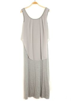 ++ Grey Patchwork Round Neck Sleeveless Cotton Blend Dress