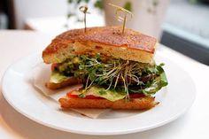 Peacefood Cafe vegan cheeseburger