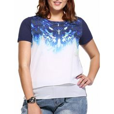 Trendy Plus Size Printed Layered Women's Blouse