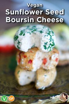 Vegan Sunflower Seed Boursin Cheese: This tangy plant based goat cheese is nut-free, soy-free and, of course, dairy-free. Best Vegan Cheese, Vegan Feta Cheese, Vegan Cheese Recipes, Delicious Vegan Recipes, Vegan Foods, Vegan Dishes, Goat Cheese, Sunflower Seed Cheese, Sunflower Seed Recipes