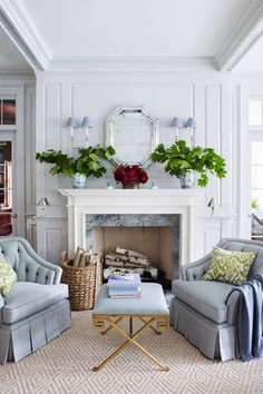 English Living Room Interior in Periwinkle Blue