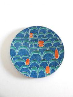 Boîte Fauchon vintage années 60 bleue et orange