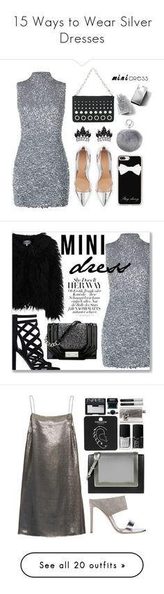 """15 Ways to Wear Silver Dresses"" by polyvore-editorial ❤ liked on Polyvore featuring waystowear, silverdresses, Harrods, Gianvito Rossi, Alexander Wang, Fallon, Casetify, Adrienne Landau, Burberry and Dry Lake"