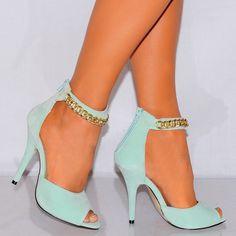 Ladies Mint Green Strappy Sandals Platforms High Heels