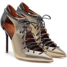 96370f0a5cd Malone Souliers Metallic Leather Lace-Up Pumps (1