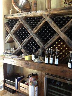 Rustic Wine rack - Beautiful wine storage for a wine pantry or cellar. Wine Rack Wall, Wine Wall, Bar A Vin, Wine Cellar Basement, Home Wine Cellars, Rustic Wine Racks, Wine Cellar Design, Homemade Wine, Wine Decor