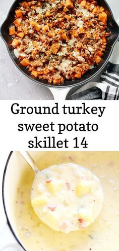 A healthy gluten free ground turkey sweet potato skillet meal that is definitely a delicious comfort food to make during your busy weeknights. Best Potato Soup, Sweet Potato, Quick Meals To Make, Food To Make, Pan Seared Steak, Skillet Potatoes, Skillet Meals, Ground Turkey, Meat Recipes