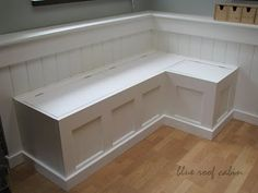 DIY Dining Banquette from Door I would love to put one of these under our living room window with some throw pillows...extra seating, could store our quilts and it's so cute!!!