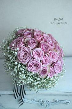 かすみ草とバラのブーケ baby's breath rose bouquet