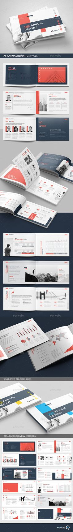 A5 Landscape Annual Report Brochure Template InDesign INDD - 24 Custom Layout Pages