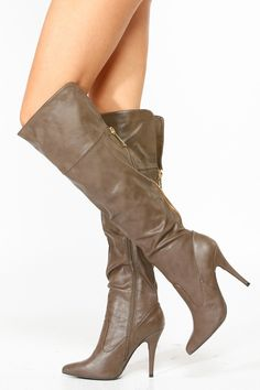 Anne Michelle Taupe Pointy Toe Knee High Boots @ Cicihot Boots Catalog:women's winter boots,leather thigh high boots,black platform knee high boots,over the knee boots,Go Go boots,cowgirl boots,gladiator boots,womens dress boots,skirt boots.