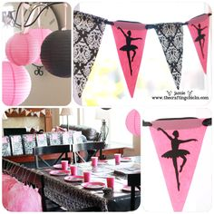 pink and damask sub out the ballerina for a silhouette of tink,  http://thecraftingchicks.com/wp-content/uploads/2012/02/sm-ballet-party-decor-1.jpg