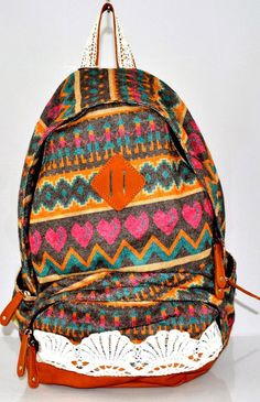 Love this patterned backpack! $68.99 plus tax @ www.thefactorygirl.com