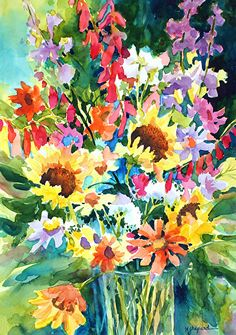 FLORAL FRENZY_(also available as giclee print) by Mary Shepard Watercolor ~ Image size: 15 x unframed